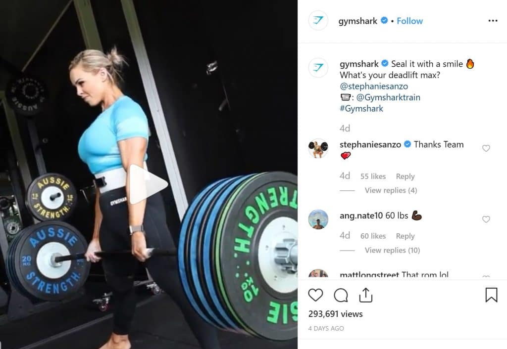 Gymshark looking to inspire their followers by sharing posts that will appeal to their attitude