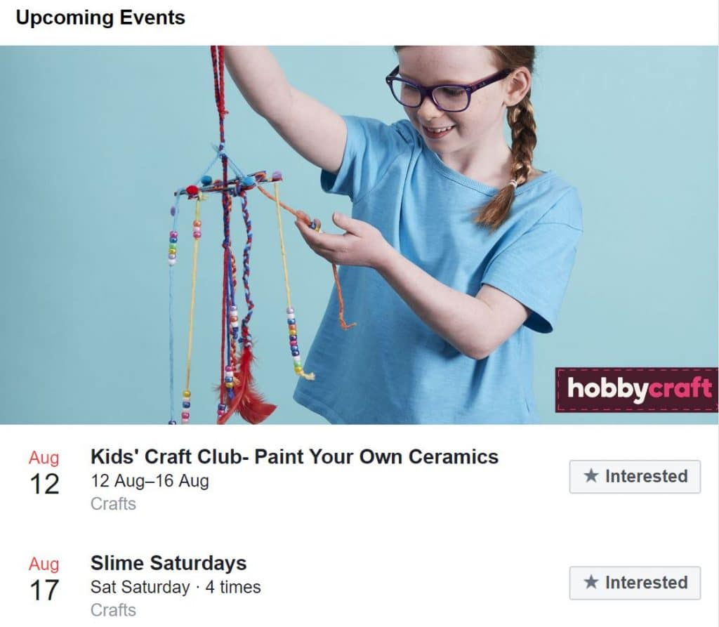 Hobbycraft on Facebook - promoting upcoming events in store