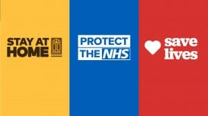 Stay Home. Protect the NHS. Save Lives. With coloured branding.