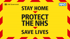 Stay Home. Protect the NHS. Save Lives. With warning branding
